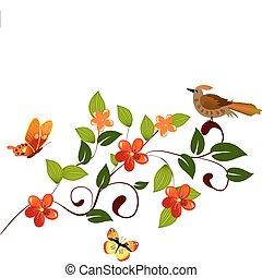 padrão, flor, ramo