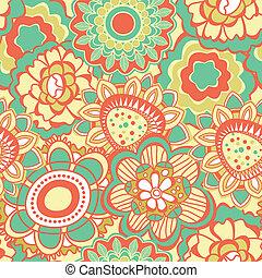 padrão, flor, retro