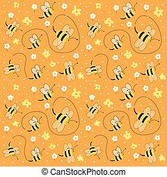 padrão floral, abelhas, seamless