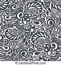 padrão floral, abstratos, seamless, cacheados