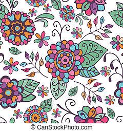 padrão floral, branca, seamless, fundo