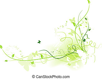 padrão floral, butterfl, grunge