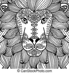 padrão floral, cabeça, leão, étnico