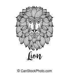 padrão floral, cabeça, pretas, leão