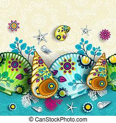 padrão, floral, conchas