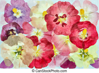 padrão floral, digital, aquarelle, flor, painting-illustration., experiência., flores, watercolor., drawing., aquarela, pintado, elements., papoula