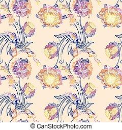 padrão floral, estilo, japoneses