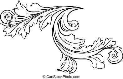 padrão floral, filigrana, desenho, scroll