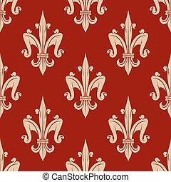padrão floral, fleur-de-lis, francês, seamless