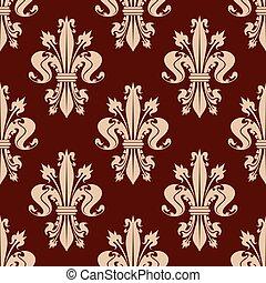 padrão floral, fleur-de-lis, fundo, seamless