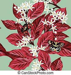 padrão floral, flor, seamless