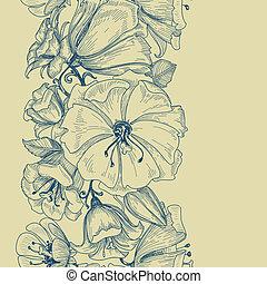 padrão floral, gráfico, seamless