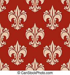 padrão floral, heraldic, seamless, fleur-de-lis