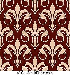 padrão floral, medieval, fleur-de-lis, seamless