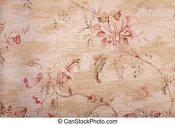 padrão floral, papel parede, roto, bege