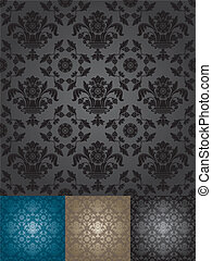 padrão floral, papel parede, seamless