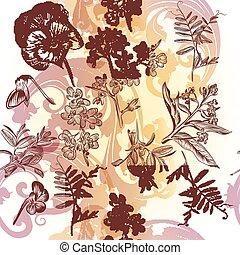 padrão floral, papel parede, seamless, w