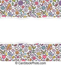 padrão floral, papel rasgado