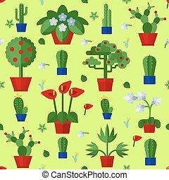 padrão floral, plantas, seamless, ícones, apartamento