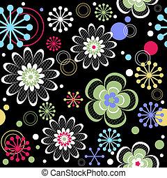 padrão floral, pretas, seamless, (vector)