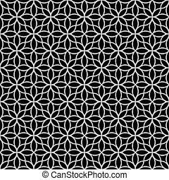 padrão floral, preto-e-branco, abstratos, seamless