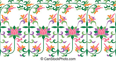 padrão floral, renda, bordado
