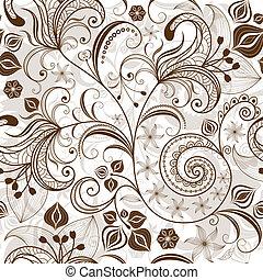 padrão floral, repetindo, white-brown