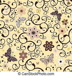 padrão floral, seamless, amarela