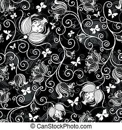 padrão floral, seamless, black-white