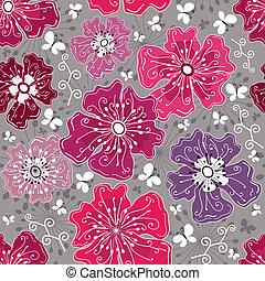 padrão floral, seamless, cinzento