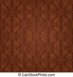 padrão floral, seamless, marrom