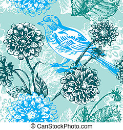 padrão floral, seamless, pássaro