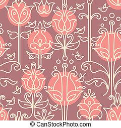 padrão, floral, seamless, pássaros