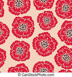 padrão floral, seamless, poppies., florescer