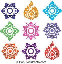 padrão floral, tailandês, coloridos