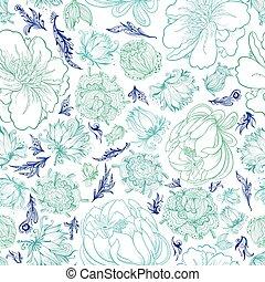 padrão floral, turquesa, vetorial, esboço