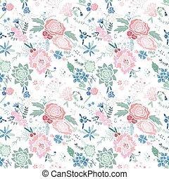 padrão floral, vetorial, bordado