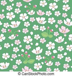 padrão, flores, árvore, maçã, seamless