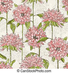 padrão, flores, desenhado, seamless, mão