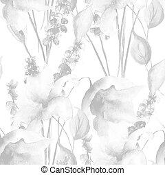 padrão, flores, lírio, seamless, monocromático