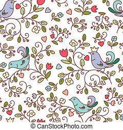 padrão, flores, pássaros, natureza