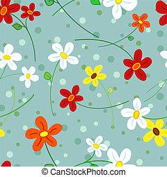 padrão, flores, seamless, margarida