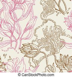 padrão, flores, seamless, papel parede