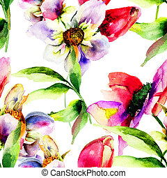 padrão, flores, seamless, tulips, gerber