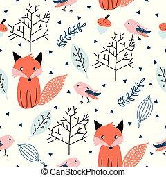 padrão, floresta, seamless, animals.