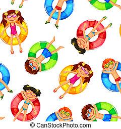 padrão, flutuante, crianças