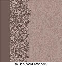 padrão, folha, borda, fundo