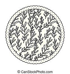padrão folha, quadro, ramos, ovoid, monocromático, redondo