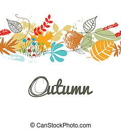padrão, folha, seamless, outono