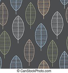 padrão folha, seamless, retro, azulejo, 50s